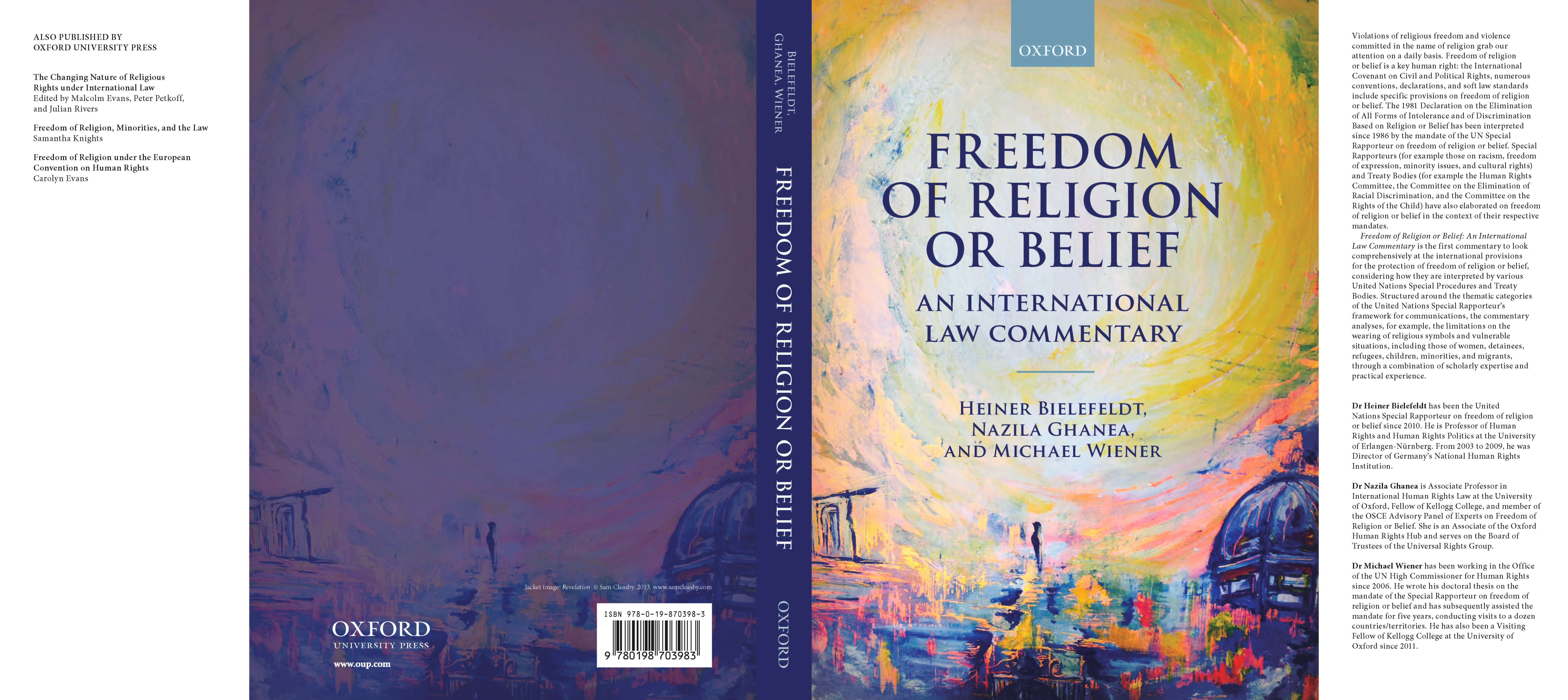New Publication: Freedom of Religion and Belief: An International Law Commentary by Heiner Bielefeldt, Nazila Ghanea, and Michael Wiener