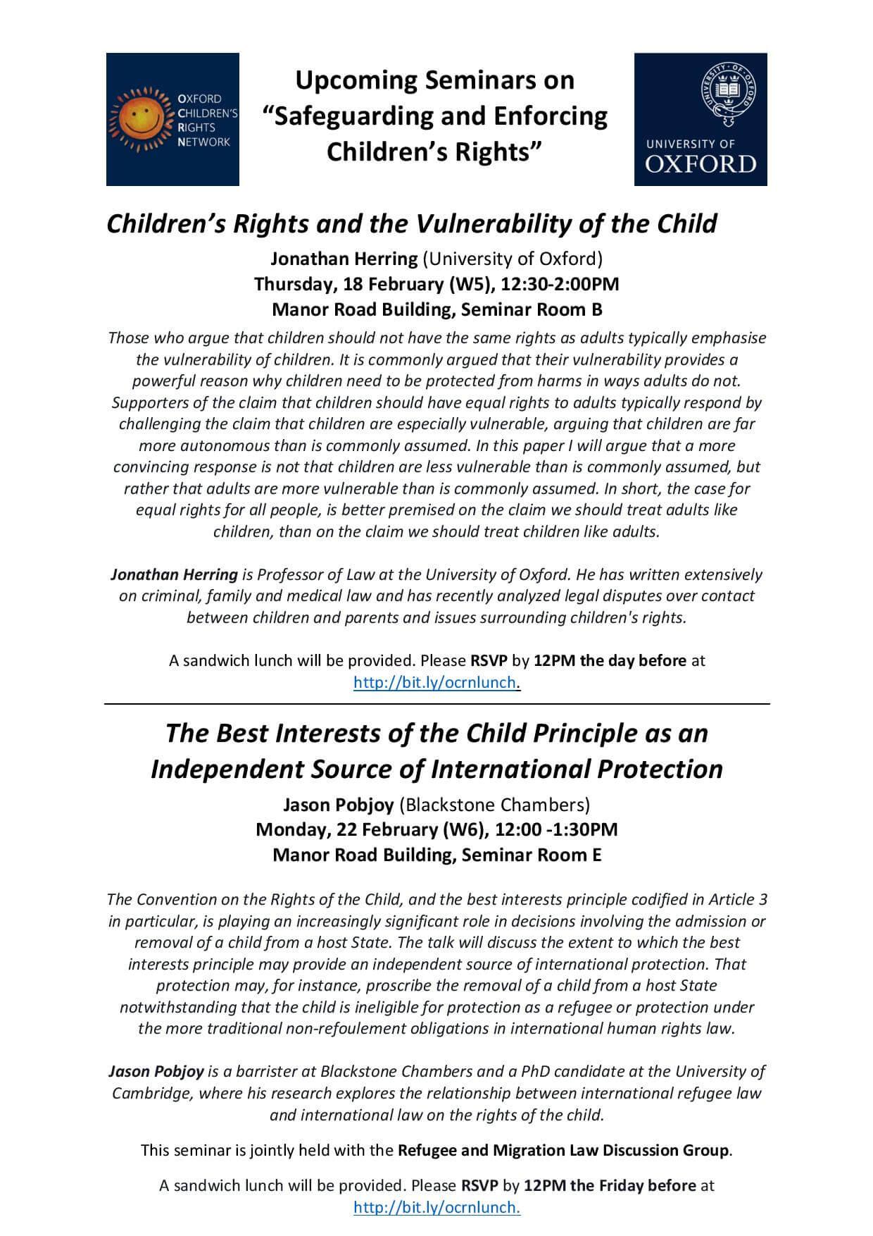 Oxford Children's Rights Network: Upcoming Seminars