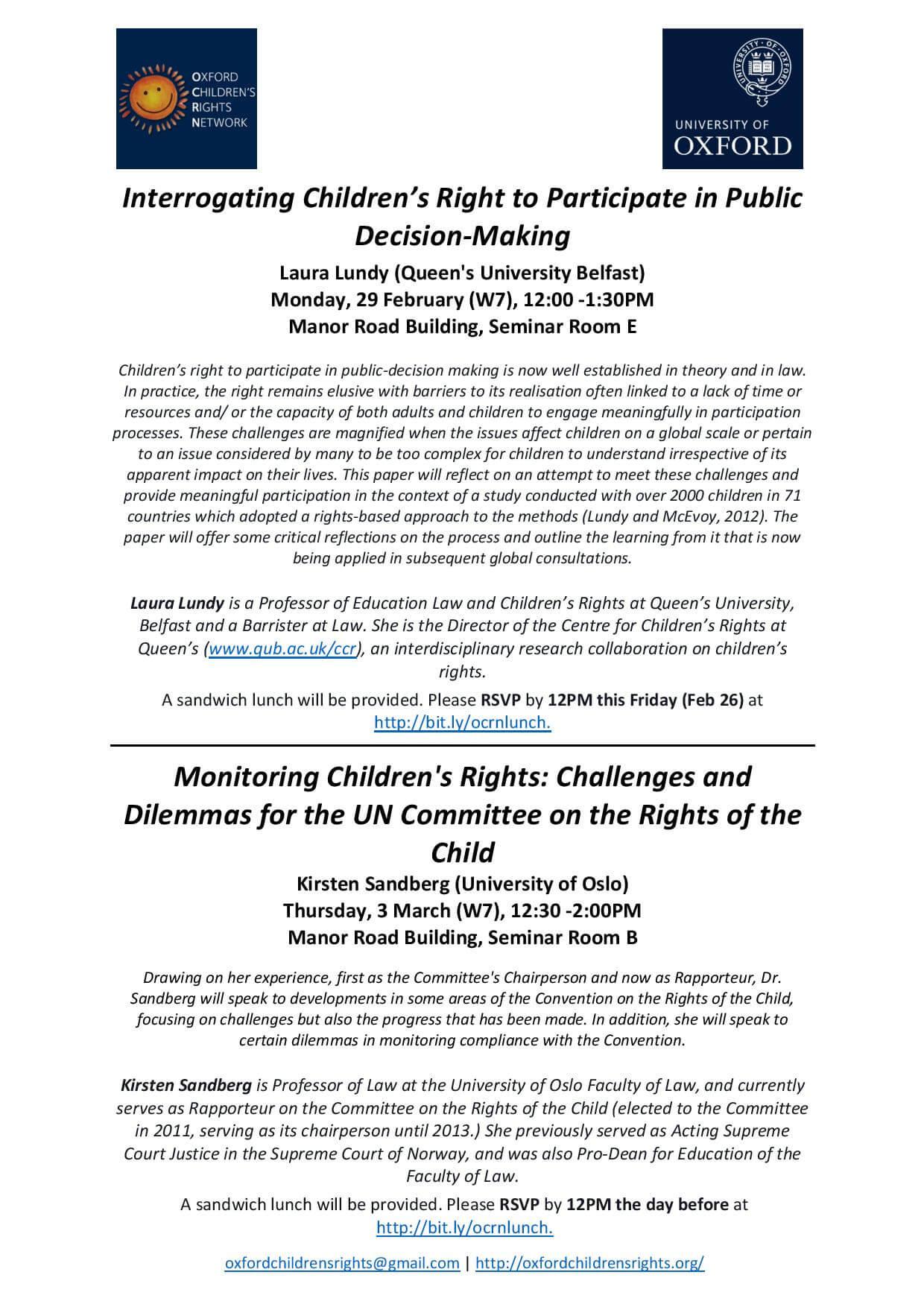 Oxford Children's Rights Network-Upcoming Seminars