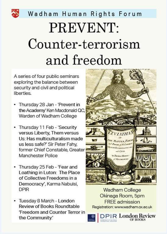Wadham Human Rights Forum: Counter-terrorism and Freedom