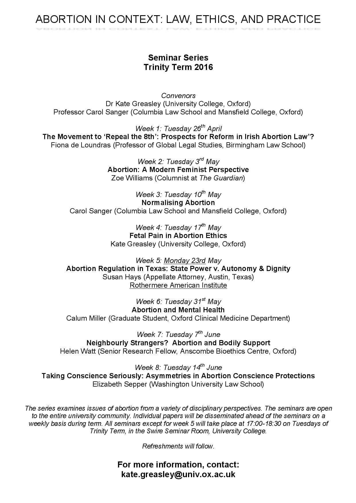 Oxford University Seminar Series: Abortion in Context, Law, Ethics and Practice