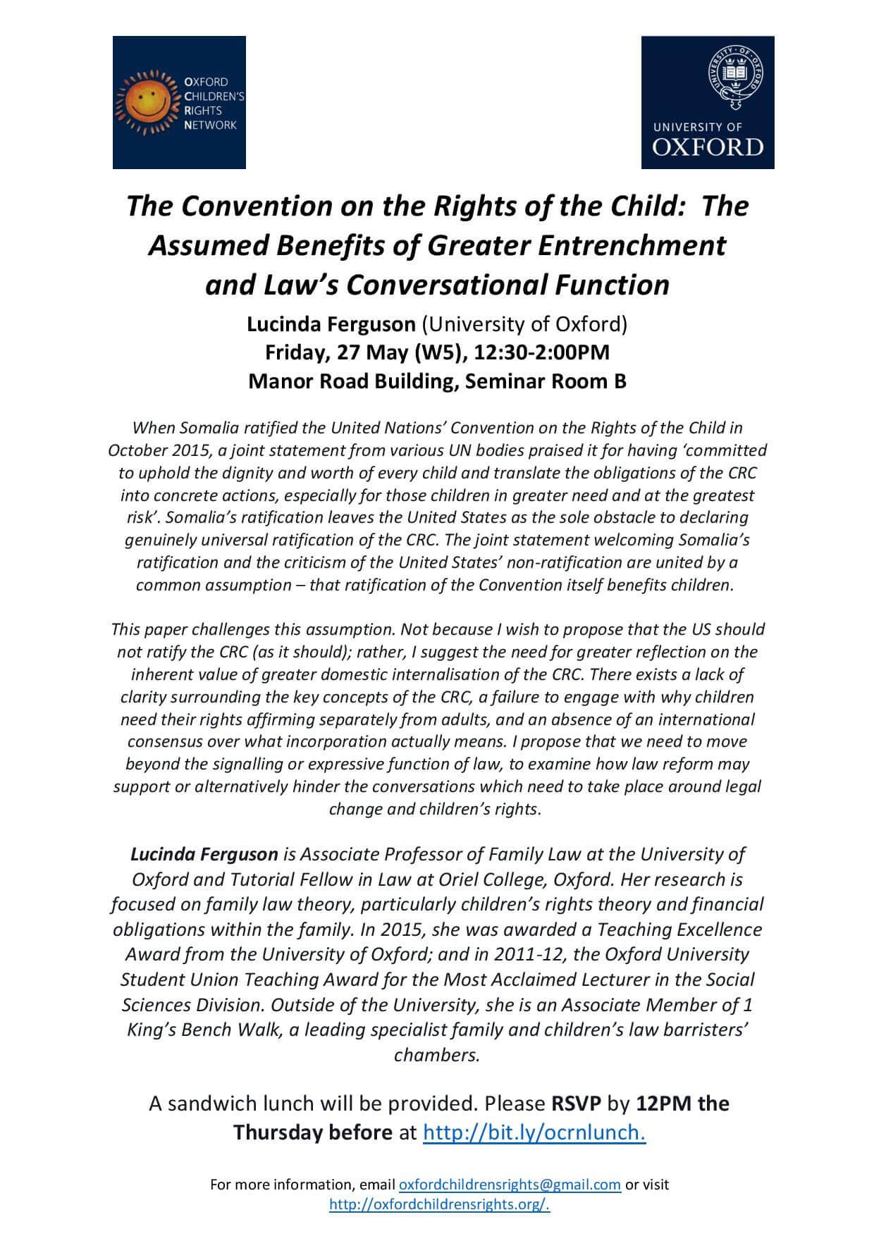 Oxford Child Rights Network-Upcoming Seminar