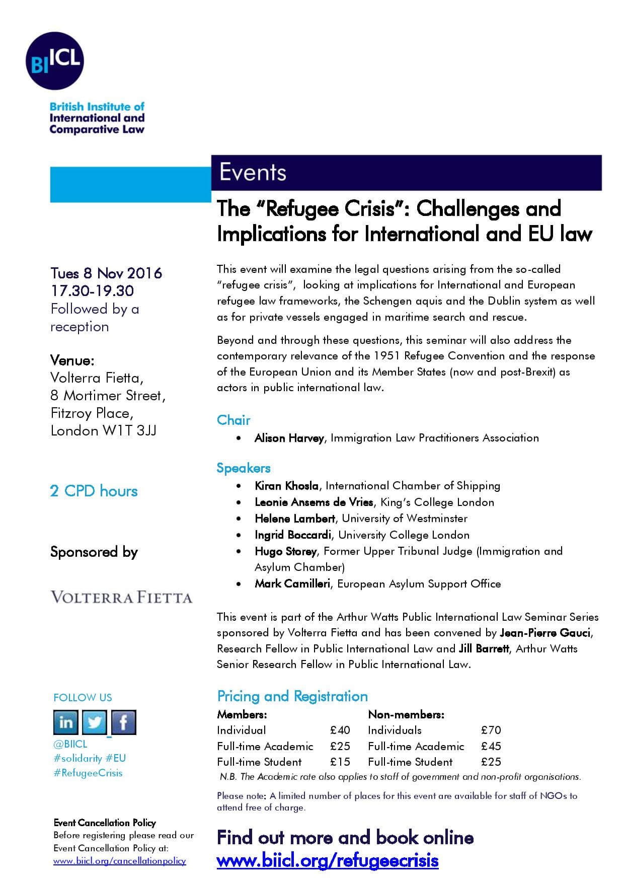 """BIICL Event: The """"Refugee Crisis"""": Challenges and Implications for International and EU Law"""