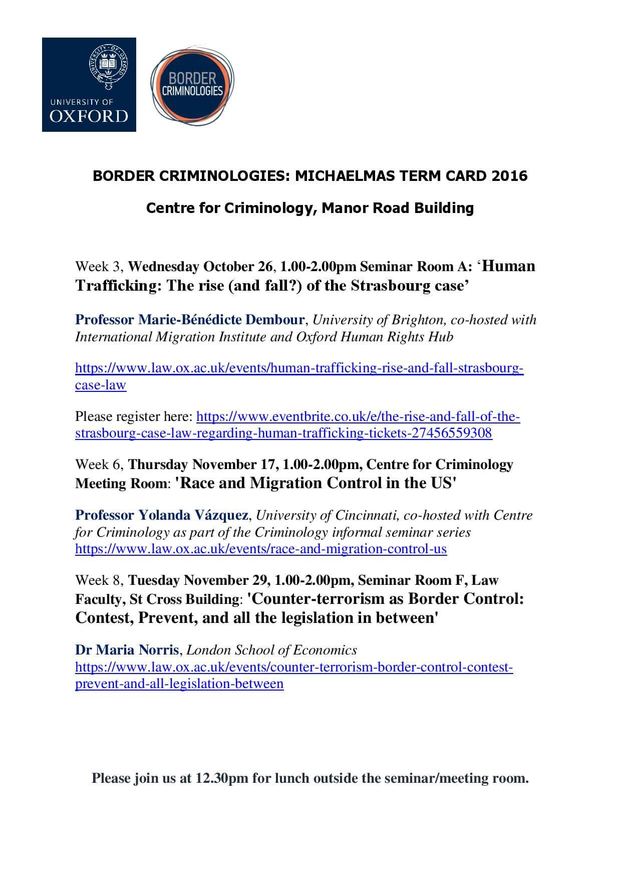 Border Criminologies Michaelmas Term Seminar Series