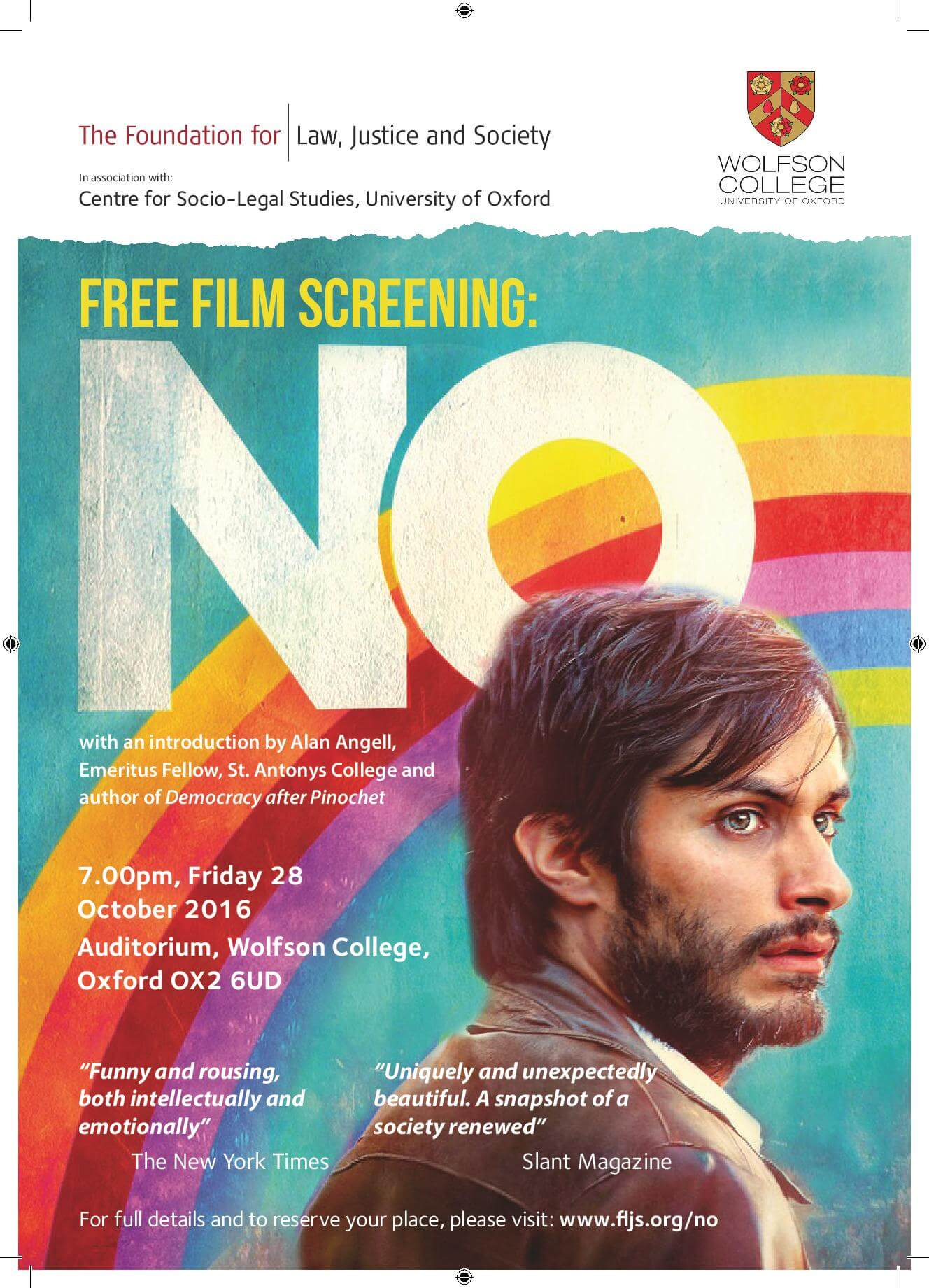 The Foundation for Law, Justice and Society Free Film Screening of No