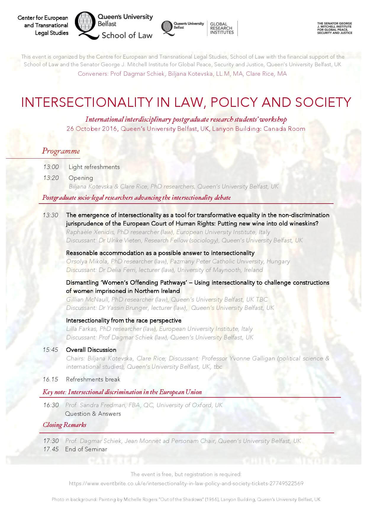 Queen's University Belfast Conference: Intersectionality in Law, Policy and Society