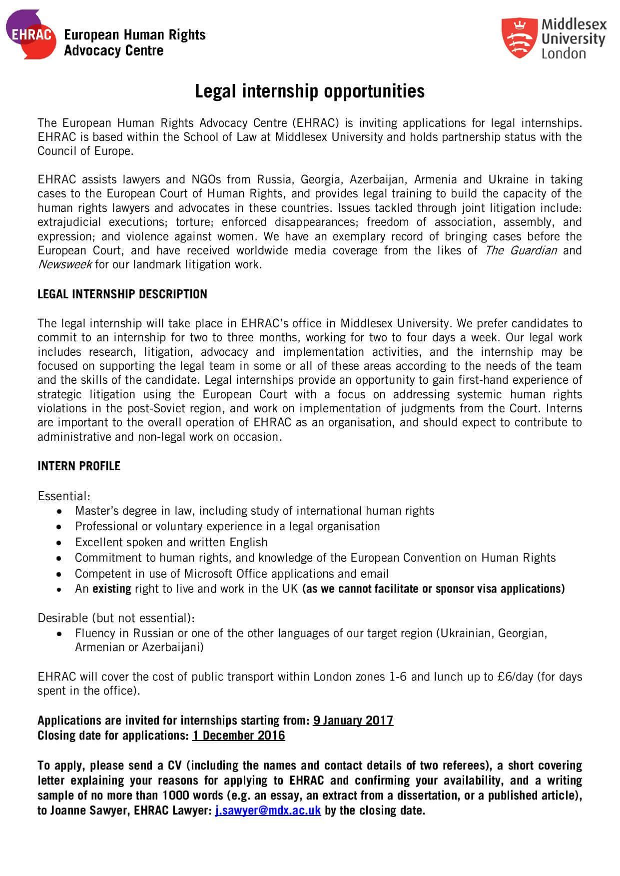 Internship at the European Human Rights Advocacy Centre