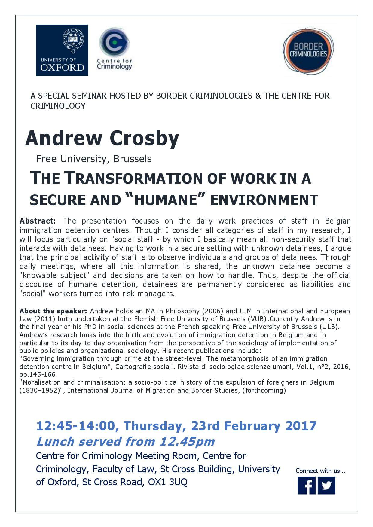 """Border Criminlogies Seminar: The Transformation of Work in a Secure and """"Humane"""" Environment"""