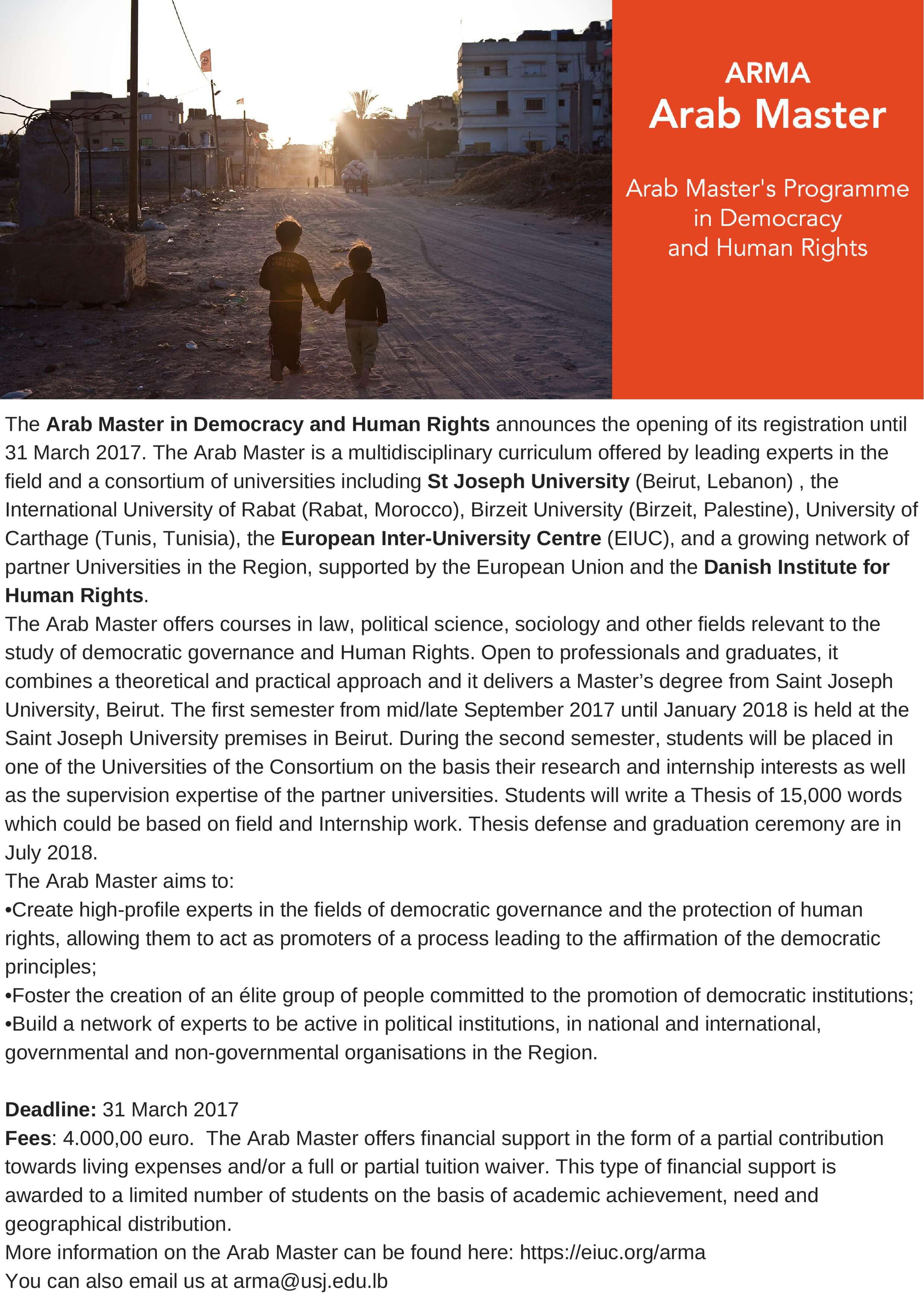 Arab Master In Human Rights and Democracy