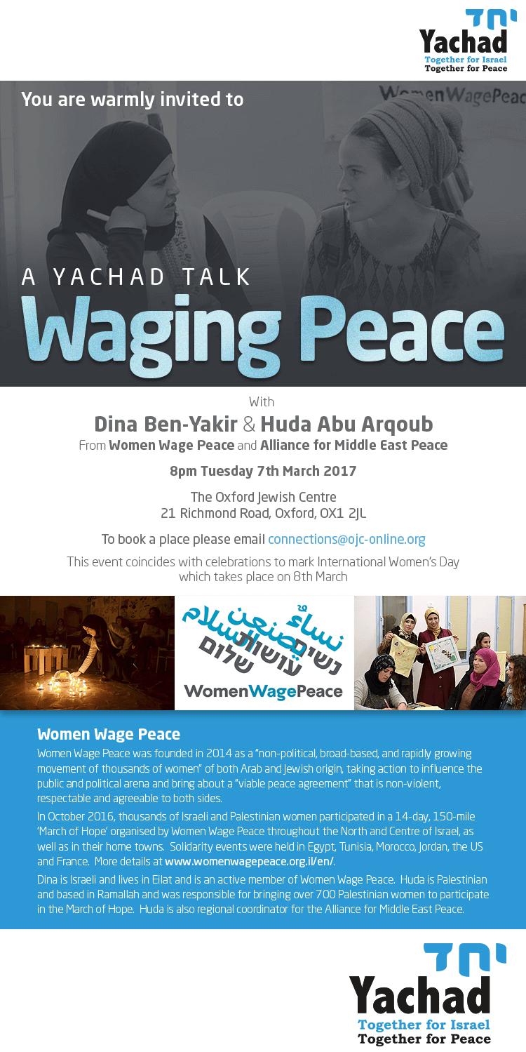 A Yachad Talk: Waging War with Peace