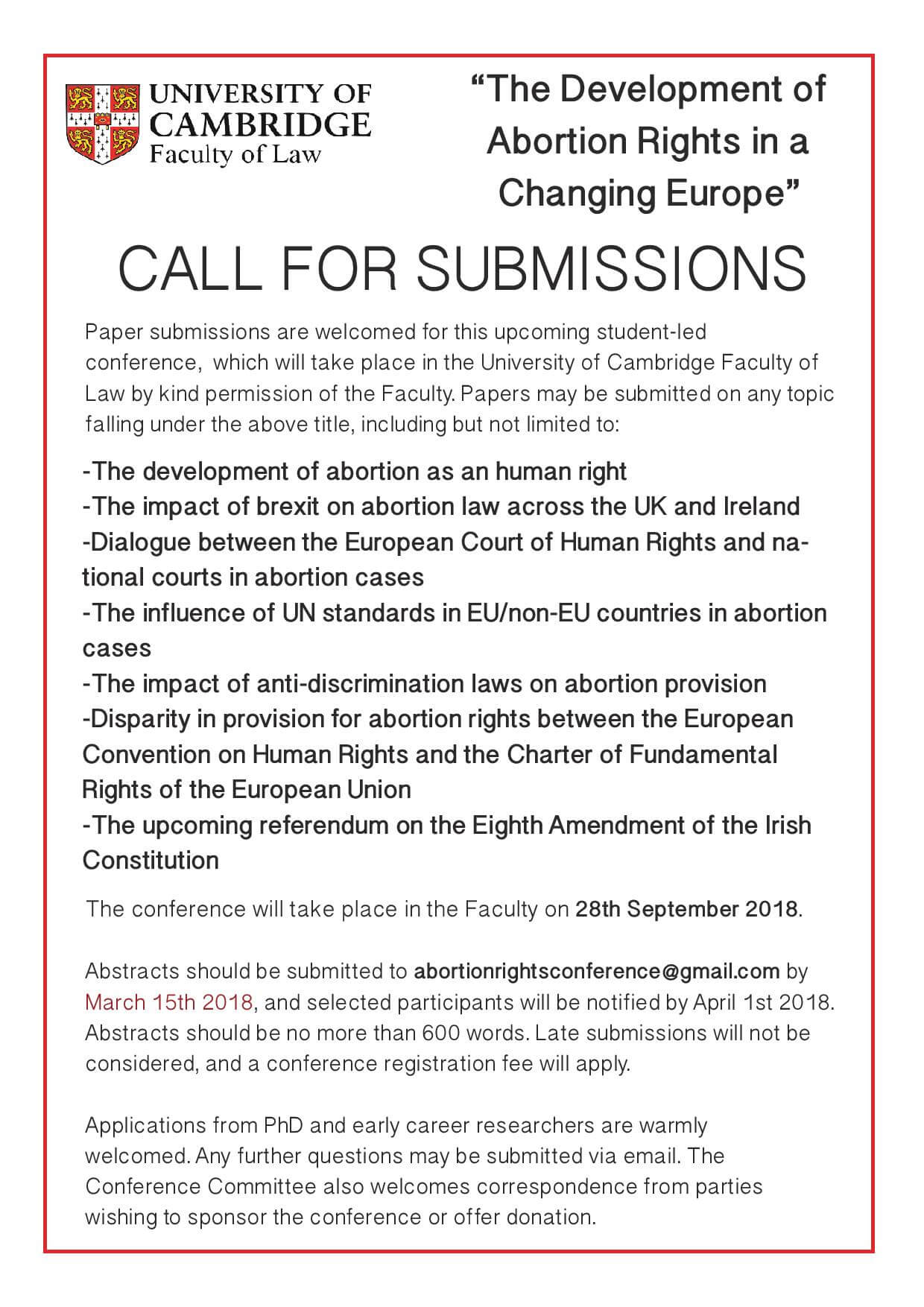 Call for Papers: The Development of Abortion Rights in a Changing Europe