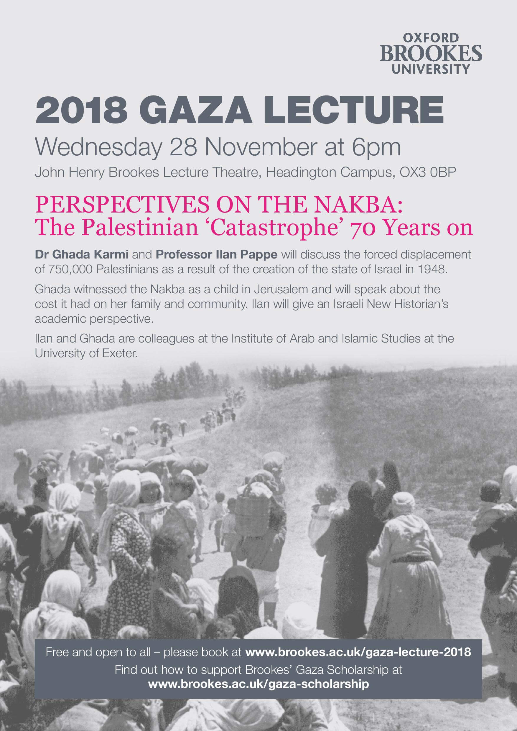 Lecture: Perspectives on the Nakba: The Palestinian 'Catastrophe' 70 Years on