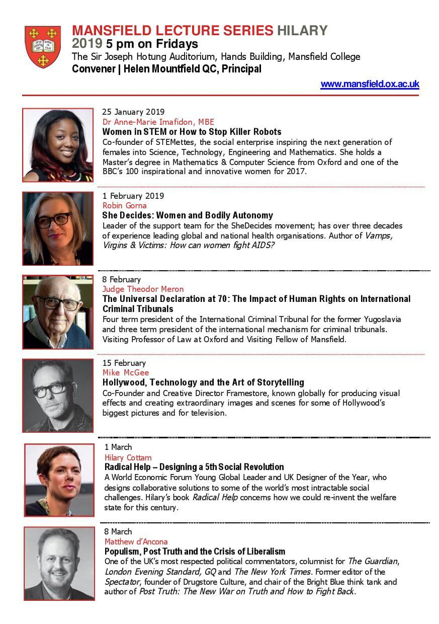 Mansfield College Lecture Series