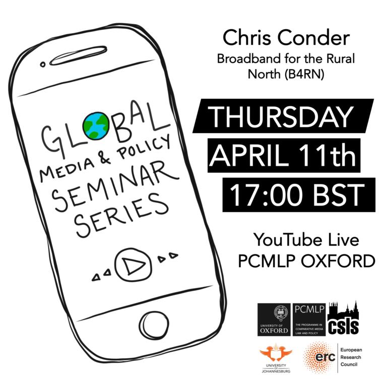 Global Media & Policy Seminar Series: Chris Conder (Broadband for the Rural North)