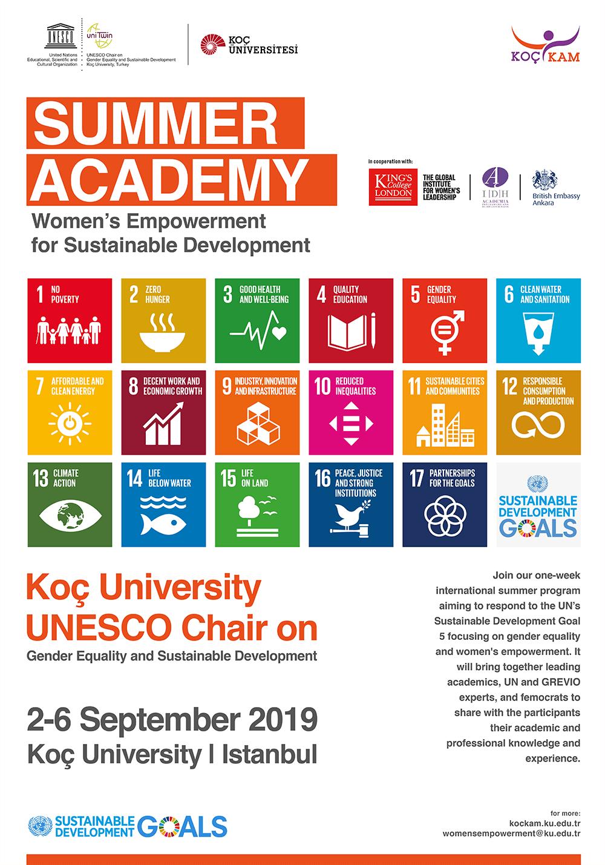 Summer Academy: Women's Empowerment for Sustainable Development, 2-6 September 2019 Koç University, Istanbul