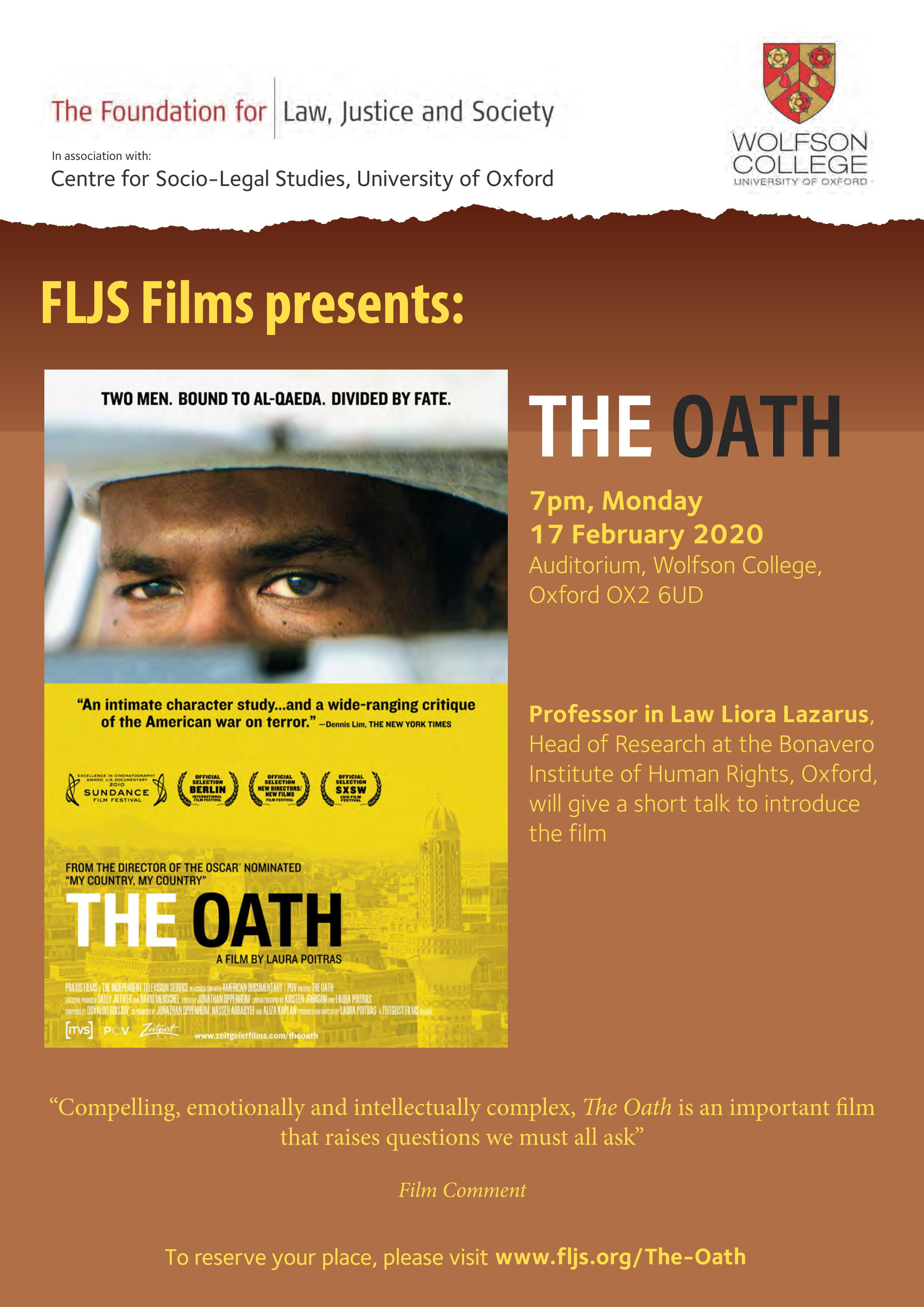 FLJS Films: The Oath, with a talk by Prof Liora Lazarus on human rights post 9/11