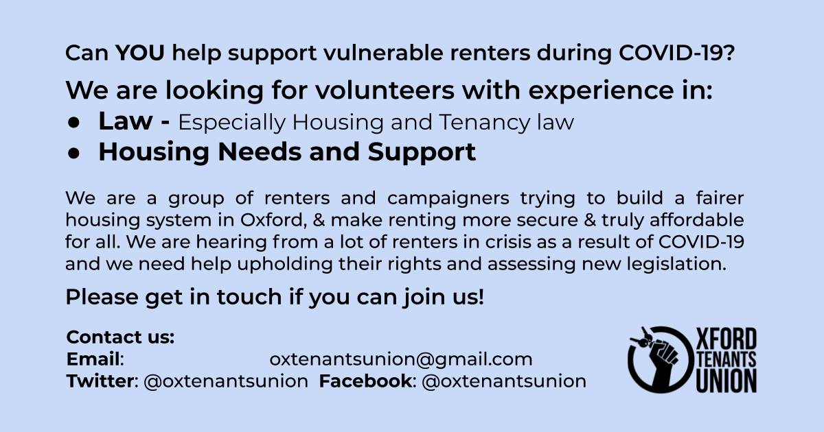 Oxford Tenants Union – Call for housing and tenancy law specialists